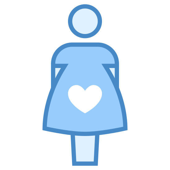 """Pregnant icon. The icon """"pregnant"""" is a stick figure of a female with a circle that contains a heart in the middle. That is to say, there's a circle on top of a shape that's wearing a skirt, and that shape contains a circle with a heart in it."""