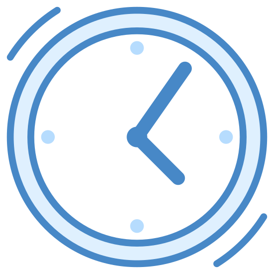 Teraźniejszość icon. There is a circle and inside the circle there are two lines that are connected by a solid, circle (dot). The lines indicate the hands of a clock, with one hand being the minute hand and the other being the hour hand. This icon is showing both hands as 5 o'clock. Outside of the circle are two lines that run near the top and bottom of the circle.