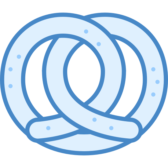 Precel icon. It is an icon of a pretzel. It looks like one piece of string that is looped inside of itself. Both ends come out of the middle and go in opposite directions at the bottom.