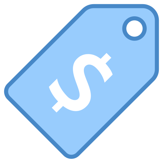Pricing icon. A price tag with the US Dollar sign printed in the center in large font. The tag is rectangular with the top of it tapered to a point, with a hole at the top for hanging. The tag is white with black font.