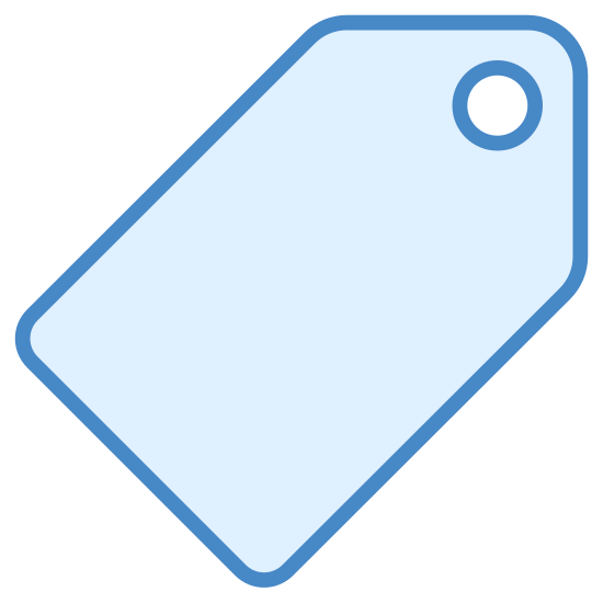Price Tag icon. This is a very simple icon of a price tag. The tag is standing on one corner. It's made of up a rectangle shape with rounded corners that tapers to a triangular point on one side. There is a circle inside of this triangular point that represents where one might tie a string to hang the tag on something.