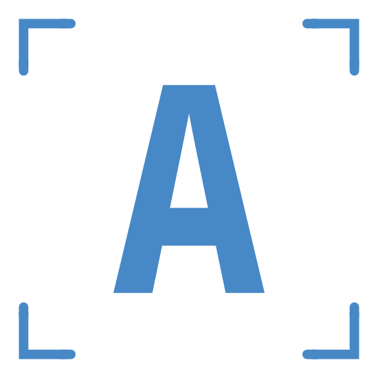 """Drukowane OCR icon. Two straight lines meet at a 90 degree angle. There are four sets of these; one with the legs pointing down and right; one with the legs pointing left and down; one pointing up and left; one pointing right and up; to create a frame. Inside the frame is the letter """"A""""."""