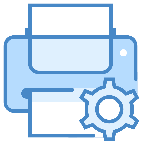 Konserwacja drukarki icon. The icon for Printer Maintenance is a large horizontal rectangle. There is another long vertical rectangle that is going through the first rectangle. In the center of the first rectangle there is a round gear.