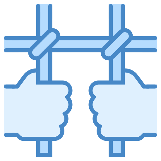 Prisoner icon. The image is of two hands that are grasping bars. The two bars are vertical and they are crossed by one horizontal bar. The hands are just fisted around the bars but no other body parts are shown.