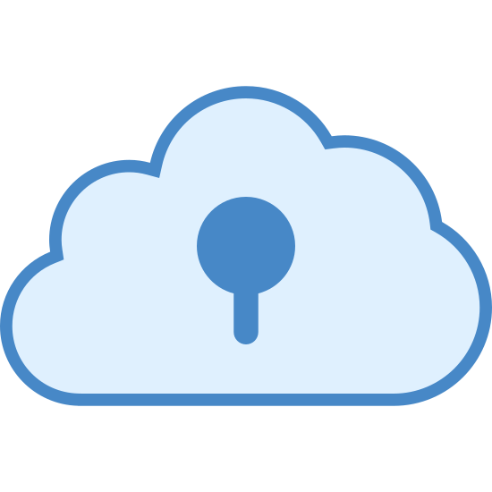 Archiviazione su Cloud Privata icon. The image is of a cloud. It is flat on the bottom with curves on top to show its fluffy shape. In the center of the cloud there is a keyhole shape, consisting of a bulbous top end with a small narrow extension sticking downward.