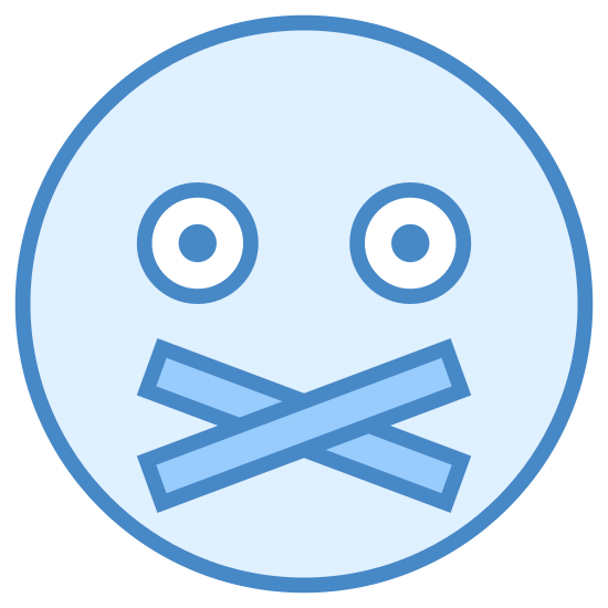 Wyciszony icon. This icon is made up of a circle with two smaller black dots inside and is meant to represent a human head. There are two rectangles crossed below the black dots meant to represent tape that might be used to cover someone's mouth so they can't speak.