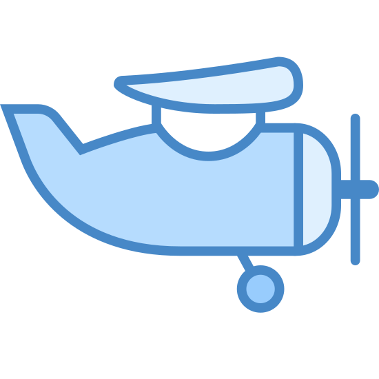 Samolot śmigłowy icon. This is a small air craft with a front propeller and a single wing is visible. The tail juts upward and one wheel dangles down. This iOS 7 icon is categorized as transportation.