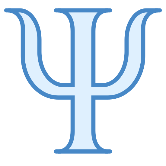 Psychology icon. The psychology logo is A trident. It consists of a pole like rectangle. On each side of the pole, there are curved barbs, shaped like horns, atached to each side.
