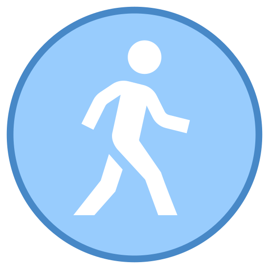 Public icon. There is a person placed in the center of a circle. The person in the circle appears to be walking forward and has one of their arms outstretched in front of them.