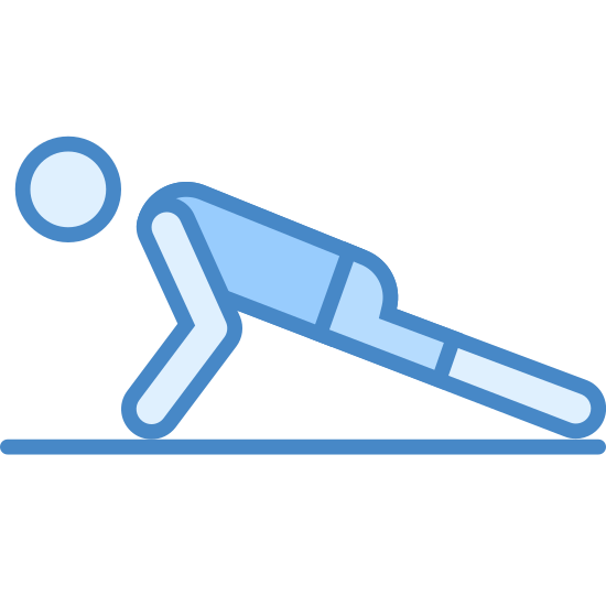 Pushups icon. It's a logo for a person doing a pushup as an exercise. The person is parallel to the floor, with their stomach facing the floor and legs straight out behind them. Their arms are propping them up so they aren't laying down.
