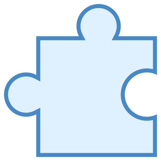 Puzle icon. This is a corner puzzle piece -one that would go in the southeast corner of a puzzle. The shape is roughly square. There is a protruding nub on the top. On the left is a space where the protrusion from another piece would fit.