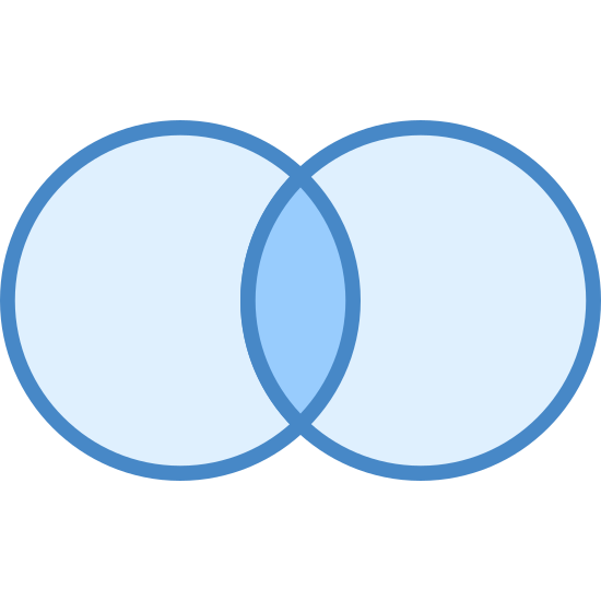 Query Inner Join icon. It's a logo of Query Inner Join reduced to two connecting circles. It looks like a compare and contrast diagram that our teachers used to make us do in school. The middle has dots in it.