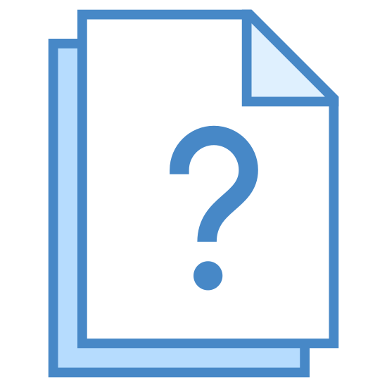 Pytania icon. The icon is shaped like a horizontal rectangle. In the very center of it is a question mark punctuation. Under the rectangle you can slightly see another one underneath it sticking out.
