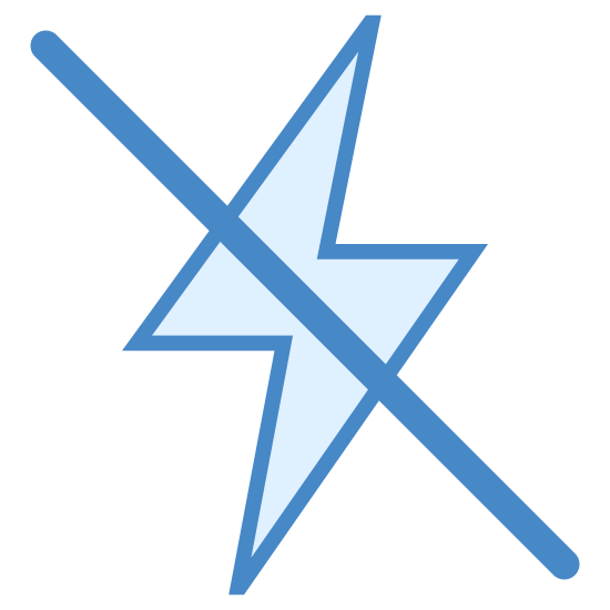 Quick Mode Off icon. This image is composed of a lightning bolt.  The lightning bolt is shaped liked an hourglass that has been tilted on its side.  There is a diagonal slash striking through the lightning bolt going from the upper left corner to the bottom right corner of the image.