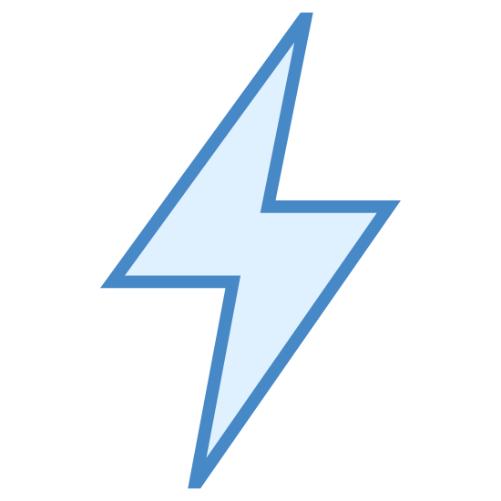 Szybjki tryb włączony icon. It's the picture of a lightning bolt to indicate electricity.  It is a single bolt of lightning, with no clouds or other features.  It looks like the image of an hourglass, tilted about 45 degrees up, and then stretched out until it resembles a lightning bolt.