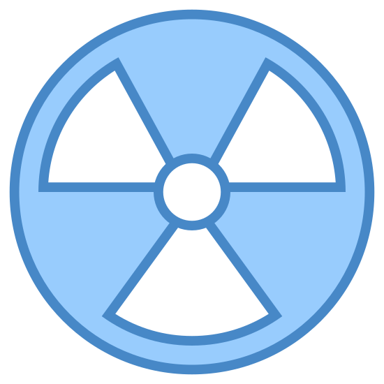Radioactif icon. The logo is a typical radiation or nuclear symbol. It is made of a main circle, inside of which there are four more shapes. The first shape is a small circle in the center and it is surrounded by three rounded triangles facing inwards towards the small circle.