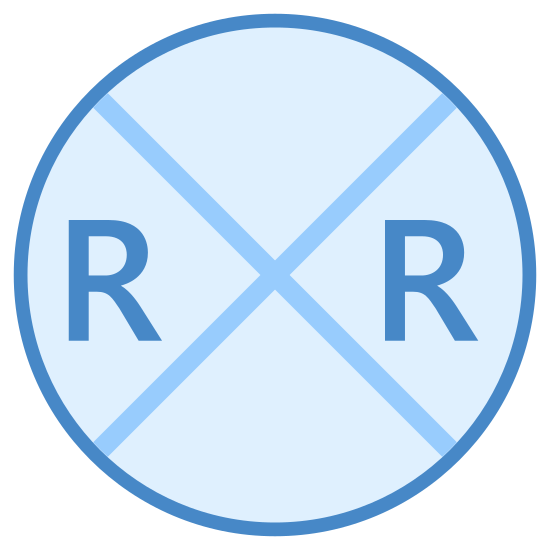 Railroad Crossing icon. There is a circle with an x that covers the entire circle. there are 2 r's with one on the left and one on the right side of the circle.