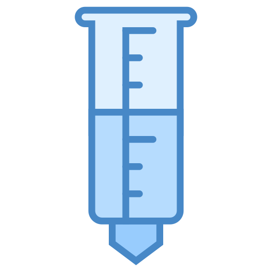 Rain Gauge icon. This logo is shaped like a black and white gauge with a lot of different lines for measurement.  There seems to be some liquid about halfway up it.  There is also a droplet or something coming out of the bottom.