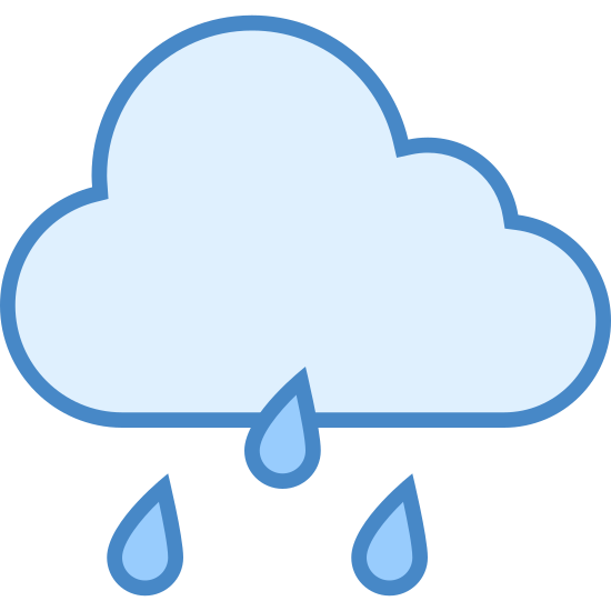 雨 icon. This is a drawing of a rain cloud that is flat on the bottom with three curvy lines coming up the sides and on the top. There are three dashed lines coming out the bottom of the cloud. There are two little dashes in each line.