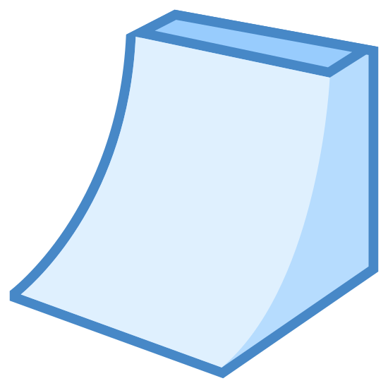 Rampa icon. This icon for ramp consists of a slightly curved rectangle which extends upward and to the right. The top or the ramp is a rectangle attached to the curved ramp, and the base of the ramp is shown to the right as a quadrilateral.