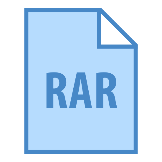 "RAR icon. There is a rectangle with the top right hand corner folded over towards the center.  In the center of the rectangle is a capital letter ""R"" and a capital letter ""A"" and another capital letter ""R""."