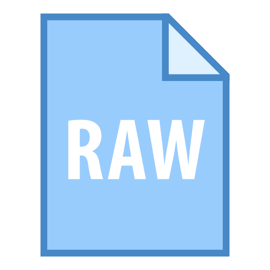 "Raw icon. This is a rectangle in which its longer down than across. the upper right corner has be folded over once to create a dog ear.  The word ""raw"" is  printed inside the main body of the rectangle and is all capitalized."
