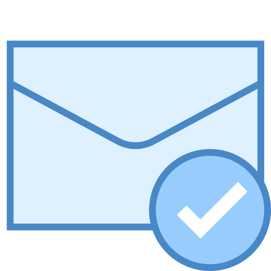 Potwierdzenie odczytu icon. There is an image of the back of a mailing envelope. Over the bottom right hand corner of the image there is a circled check mark that seems to be indicating that an action has been completed involving the envelope.