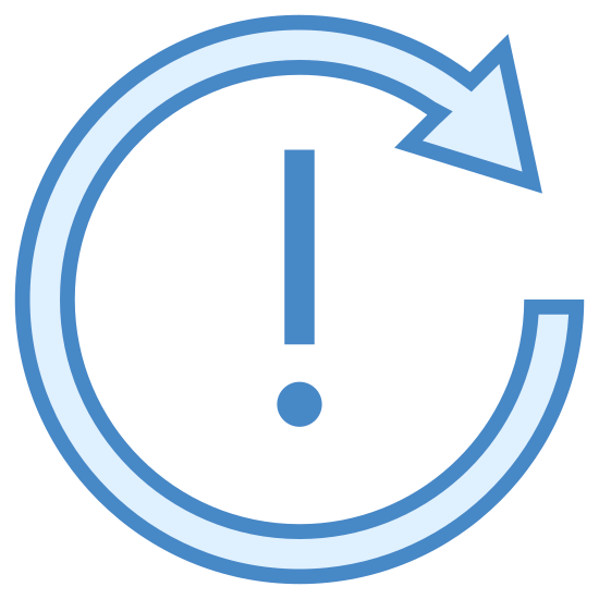 Recurring Appointment Exception icon. This is a picture of an arrow that is circular shaped. it has it's arrow end in the top right hand side of the circle. in the middle is an exclamation mark