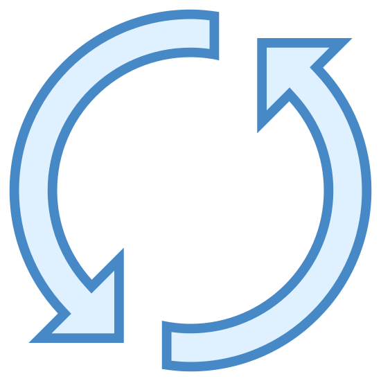 Refresh icon. This is a photo of two arrows. One arrow is pointed down, the other is pointed up. The beginning of each arrow is straight, and then curves either upward or downward.