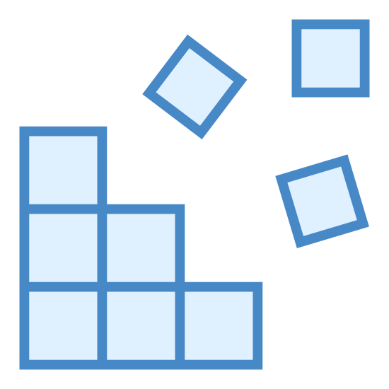 Edytor rejestru icon. This is an icon that looks like a broken cube made up of 9 small blocks of the same size. There are three rows of 3 blocks with the last one on each row falling off.