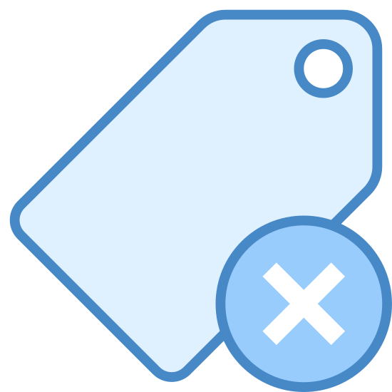 Remove Tag icon. The image is a price tag that would usually be found on clothing but it isn't attached to anything. There is not price on the tag. It's just blank. To the right and covering the tab a little is a circle with an 'x' inside.
