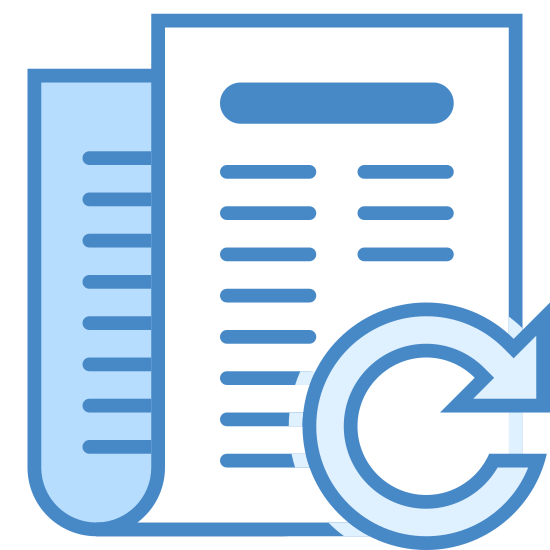 Renew icon. This is an image of a folded piece of paper that's pointed upwards. On the paper are horizontal lines representing text. A curved arrow is superimposed on top of the lower right corner of the paper.