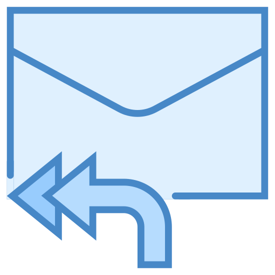 Reply All icon. This icon shows the back of an envelope with a closed flap.  There are two arrows at the bottom of the envelope.  The arrows have a downward curving tail and both of them point to the left.