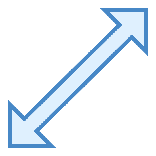 Enlarge icon. This is a image of a doubled-sided arrow. The arrow is tilted, with one side pointing towards the lower left corner and the other side pointing towards the upper right corner.