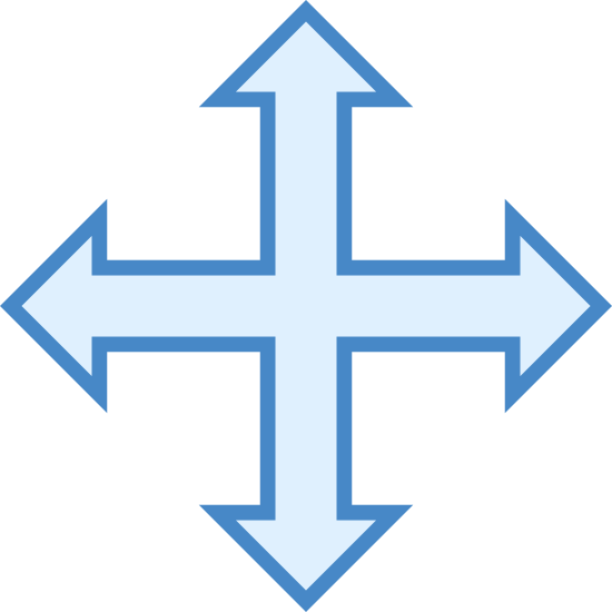 Zmiana rozmiaru czterech kierunkach icon. This icon consists of a cross drawn with equal length lines pointing up, down, left and right. At the end of each line are two smaller lines, forming ninety degree angles, giving the appearance of four arrows pointing in different directions.