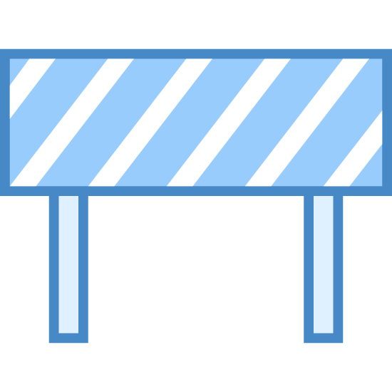 Restrict icon. This is a rectangle with diagonal lines drawn from the bottom left to the top right. There are two rectangles on each side, vertical, under the edges of the bigger rectangle.