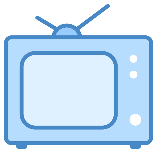 Retro TV icon. The icon looks like an old fashioned television from the 60's with two knobs on the right hand side.  The screen is offset to the left and the antenna on top looks like a checkmark.
