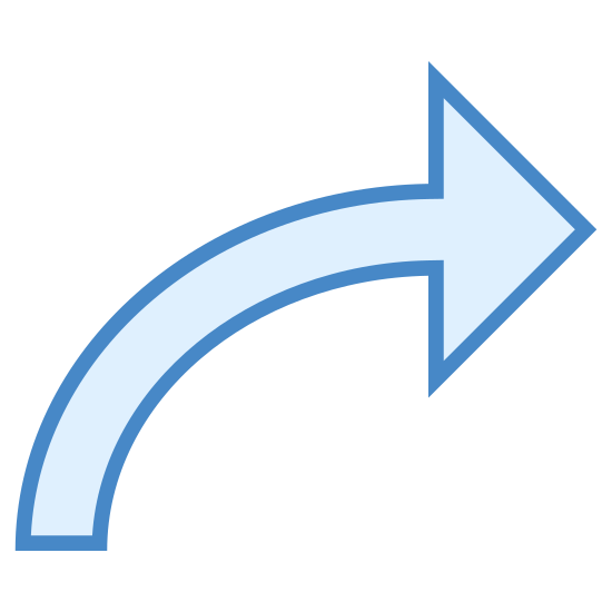 Right 2 icon. The right turn icon used by gps software to indicate a user that a right turn is coming up. A simple arrow, bent over to point to the right, tapering to a point at the small end.