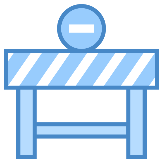 Road Closure icon. The universal road closure sign, a generic sawhorse painted with diagonal stripes. On top sits a (what would be red) circle, with a single black, horizontal line painted in the middle.