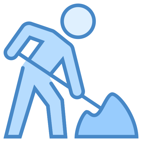 Construction icon. This is a picture of a person leaning over to the right, holding a stick that looks like a shovel, digging in to a pile of dirt that is on the ground.