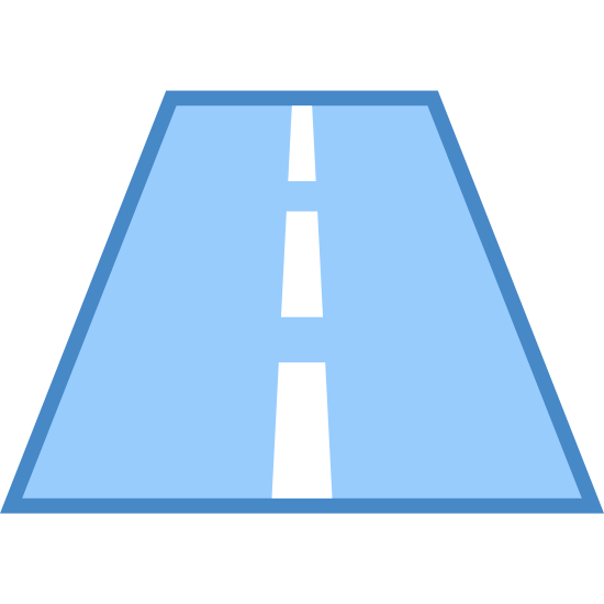 路 icon. This is a picture of a road that has two lanes. The middle of the lanes is separated by a dashed line. The road is fairly short and we are facing the direction towards the road, not across it.