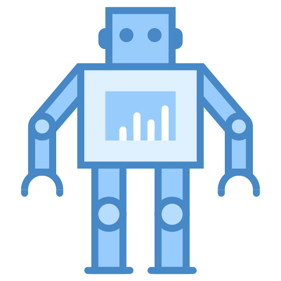 Robot 2 icon. Shaped like a robot toy, it has a square body with a rectangle panel in the center. Two blocky rectangular legs with jointed knees are attached to the bottom of the torso. The head is a rectangle with two dots for eyes and lines on the side for ears. Two arms attach to the side, bent down at the elbows.