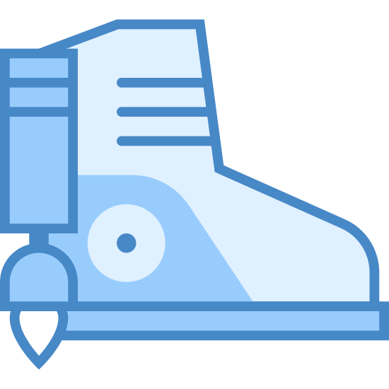 Raketenschuh icon. It's a logo of Rocket Boot reduced to a boot with a small rocket attached to it. It looks like an ordinary boot but it has a small rocket the shape of a flashlight on the back of the boot. This boots are designed to give humans flight.
