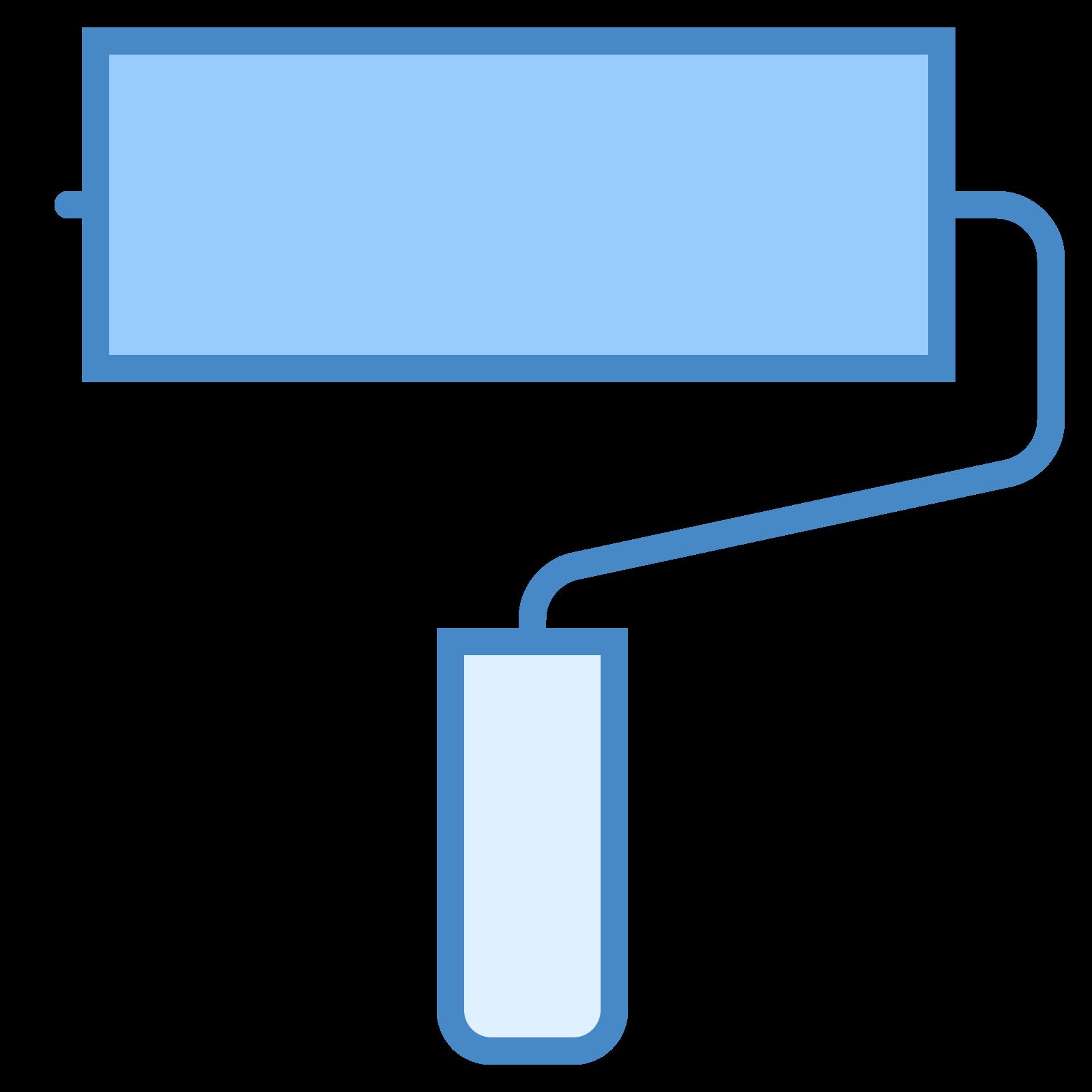 ローラーブラシ icon. The roller brush is a rectangle connected to a handle. The bottom of the handle is a smaller rectangle, and a line connects the smaller rectangle to the larger rectangle.