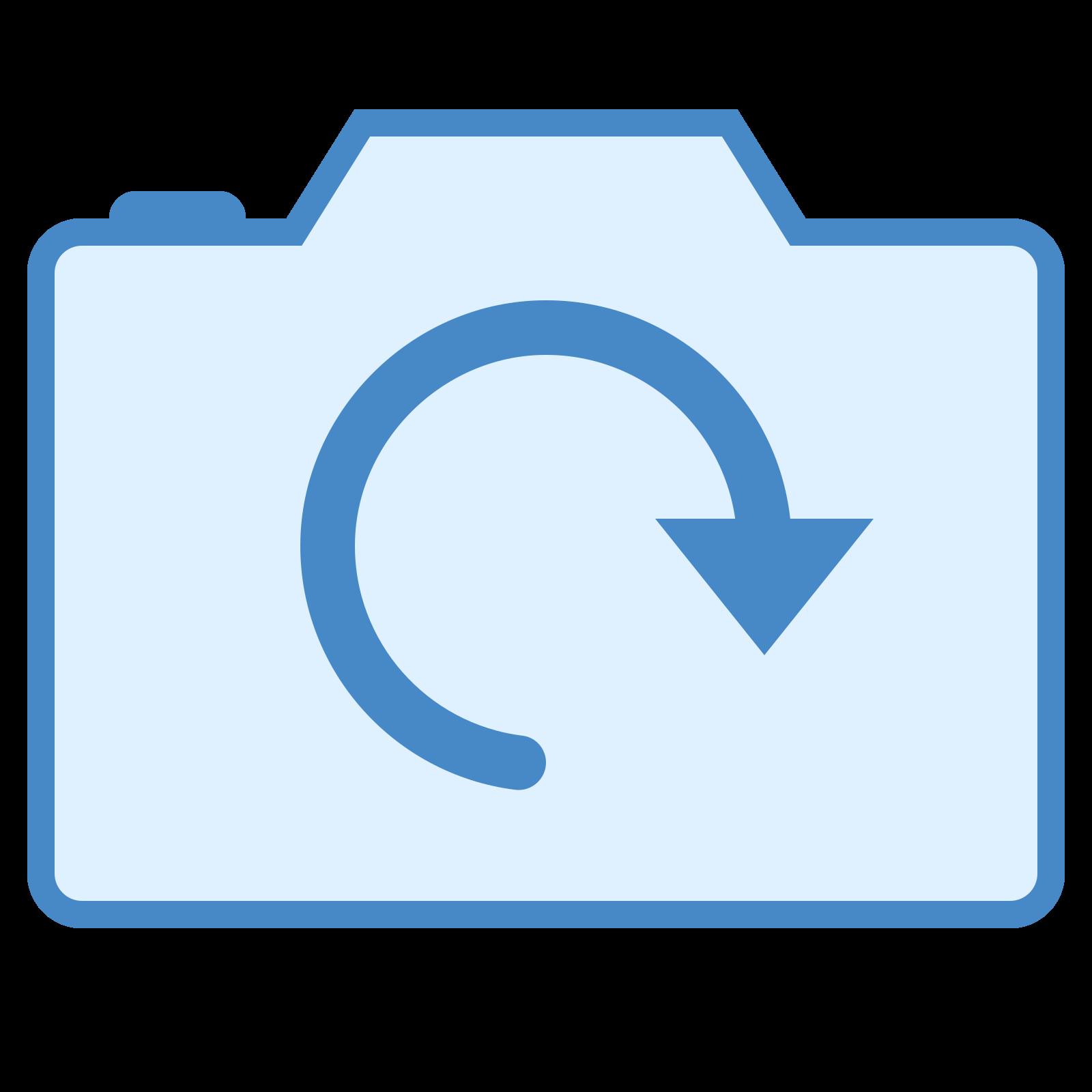 カメラを回転する icon. The icon is shaped like a rectangle with round edges but the top of it is not flat. The top is like a pyramid shape with a flat top. Inside the rectangle is a shape like a circle that doesn't fully connect because one end has an arrow shape on it.