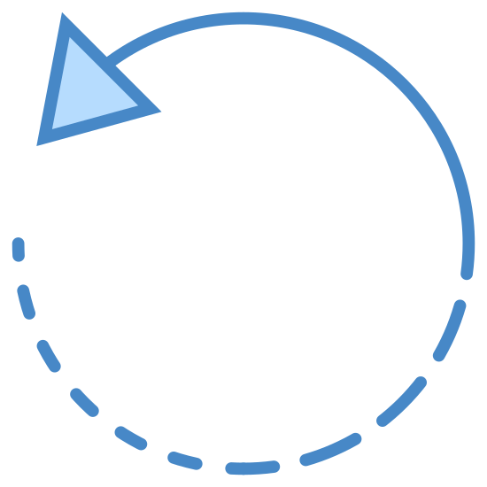 左に回転 icon. The icon Rotate Left is a circle. It starts on the left side at the bottom with seven lines that start small and get longer. The eighth line is the longest and continues all the way around ending with an arrow.