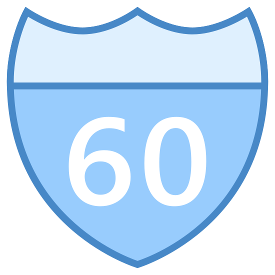 Znak drogowy icon. The icon is a logo for the State Route Sign. The icon is in the shape of a shield, with a line across the top of it. The icon has the number 60 in the very center of it, as if to display state route 60.