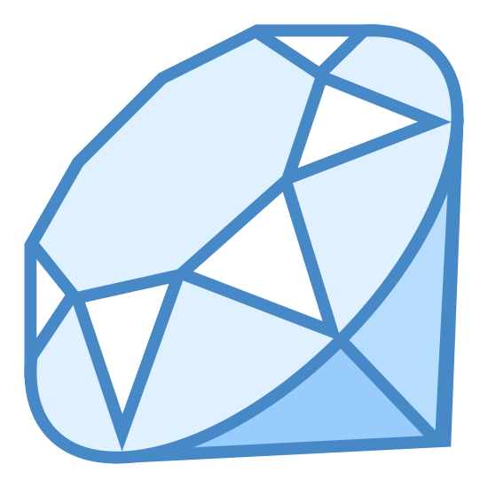 Język programowania Ruby icon. The icon had a octagon shape at the center of it and is surrounded by various triangle shapes both upside down and right side up. Under the triangles at the very bottom are to upside down right angle triangles. Together they all form a gem-like shape.