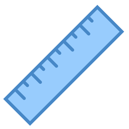 Ruler icon. The ruler icon is a rectangular shape icon with lines on onside. There are four smaller lines,  which represents centimeters. There are also three longer lines that are about double the length of the centimeter lines and the longer line represents inches.
