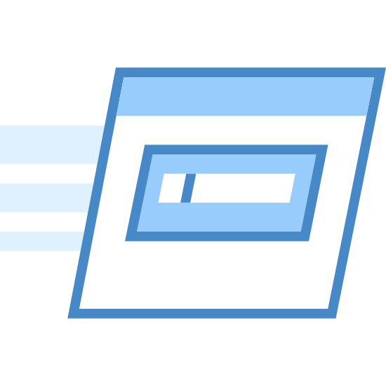 Run Command icon. This logo is of a credit card. It is the backside of a credit card, displaying the swipe stripe and the box for the signature. The logo is slightly slanting to the right and has three speed lines on the left side, indicating movement.